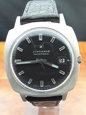 vintage JUNGHANS DATE AUTOMATIC schwarz 36mm Herrenuhr Made in Germany ca. 1970