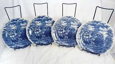 """SET OF 4 OXFORD VITRAMIK BLUE/WHITE (8"""") Serving PLATE HORSE CARRIAGE"""