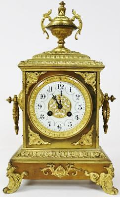 Antique French Cubed Bronze 8 day Mantel Clock - C1880 Bell Striking Japy Freres
