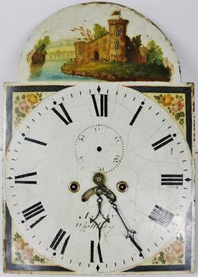 Nice Antique Longcase Clock Striking Grandfather Movement & Painted Dial