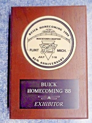 Buick Homecoming 1988 Flint Vehicle City 85th Anniversary Plaque