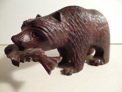 """Ironstone Hand Carved Grizzly Bear Nearly 8"""" Long Arizona New Mexico"""
