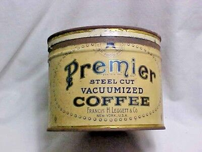 Vintage PREMIER Steel Cut Vacuumized Coffee 1 Pound Tin Can Leggett New York