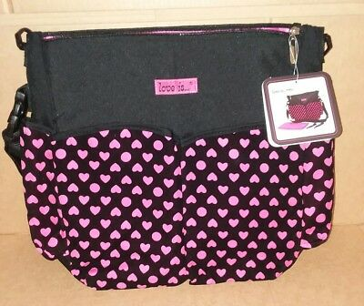 Love Is.. Baby Girl Black Pink Tote Diaper Bag Storage