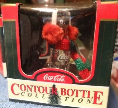 Vintage Coca-Cola Contour Bottle Collection ear muff and scarf ornament MIB