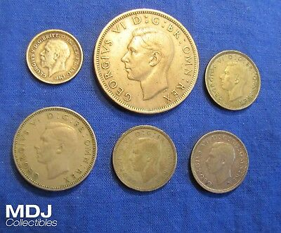 Lot of 6 Great Britain Coins w/ some silver - 1932 Threepence, 2x 1941 Sixpence
