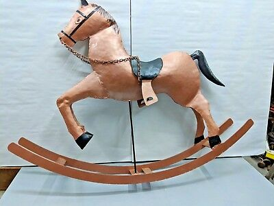 "Vintage Metal Rocking Horse, 27"" x 35"" ~ Hand Crafted ~ Welded ~ Hammered"