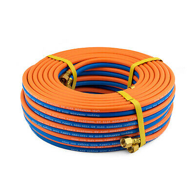 30 Meter Oxy / LPG  5mm Twin Hose with extended shank fittings - 30m - Hampdon