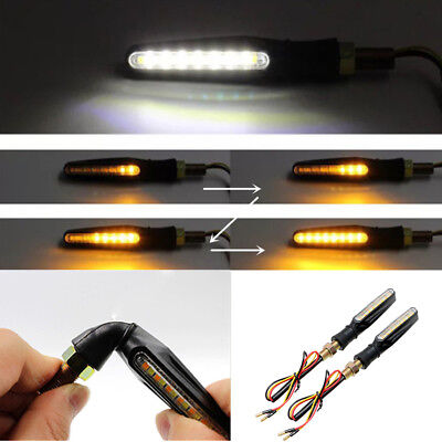 2x White+Amber LED Signal Indicator Driving Light Sequential Flowing Motorcycle
