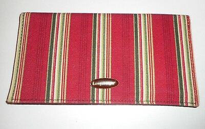 Longaberger Holiday Stripe Checkbook Cover Wallet W/ Clear Credit Card Slots