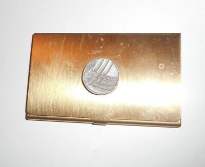 Longaberger Gold Metal Business Card / Credit Card Holder Case Snaps Closed