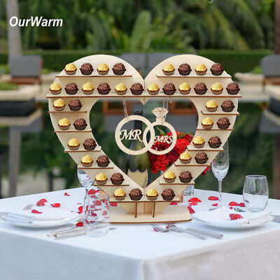 Wooden Mr & Mrs Heart Chocolate Dessert Display Stand Holder Wedding Party Decor