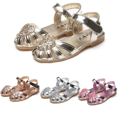 UK Stock Kids Baby Girls Soft Sole Sandals Toddler Summer Shoes Heart Sandal