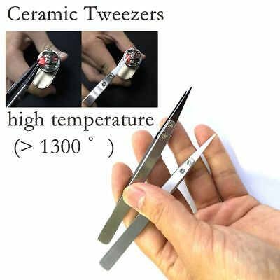 Non-Conductive Metal Tweezers Ceramic Pointed Tips Forceps/Pliers Black/Silver