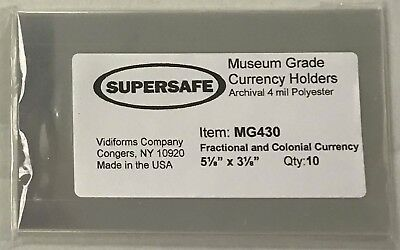 Supersafe Museum Grade Currency Sleeves For US Fractional Banknotes Fold Top