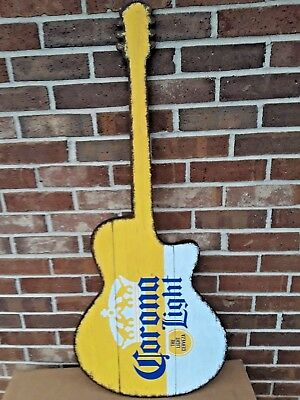 Corona Kenny Chesney Tour Weathered Look Wooden Guitar Beer Sign..NIB.
