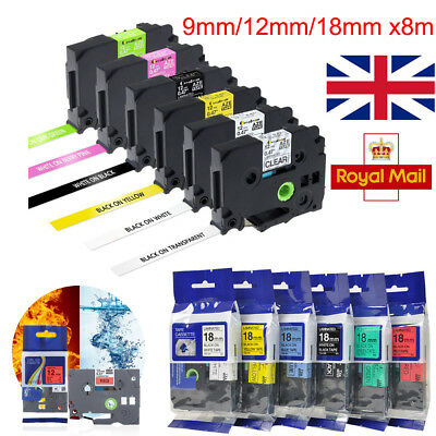 Compatible Brother TZ Label Tape Cartridge for P-Touch Printer 12mm 18mm 9mm x8m