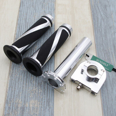 "Motorcycle Dirt Bike Scooter 7/8""Silver CNC Hand Grips Throttle Twist Tube Lever"