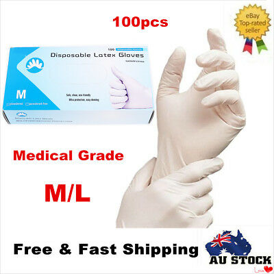 100x Disposable Latex Gloves Rubber Gloves Lightly Powdered Medical Gloves