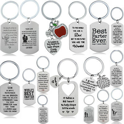 Keyring Family Message Quote Keychain Fathers Mothers Gifts Daughter Son Mom Dad