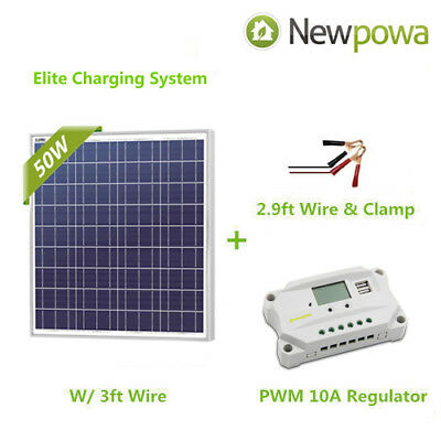 Newpowa 50W Watt 12V Solar Panel +PWM 10A Charge Controller+3FT wire with clamps
