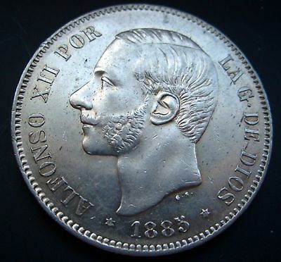 SPAIN, 5 Pesetas 1885 *18*87 KING ALFONSO XII Madrid MS M  Silver .900 Excellent