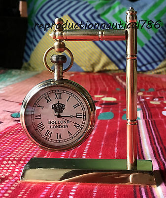 Shiny Brass Working Clock Vintage Nautical Design Desktop Clock Decorative