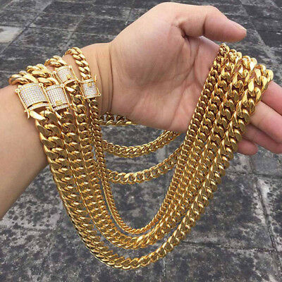 Hip hop 10/14mm Men Cuban 18K Chain Necklace Stainless steel Rhinestone Clasp