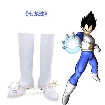 Hot! Dragon Ball Z Vegeta Halloween White Long Cosplay Shoes Boots Y.52