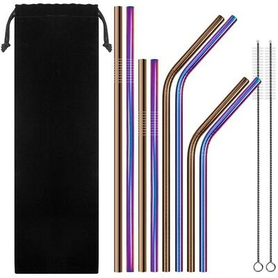 Stainless Steel Metal Straws, 6mm Reusable Drinking Straws Set of 8 with 2 Q1L8