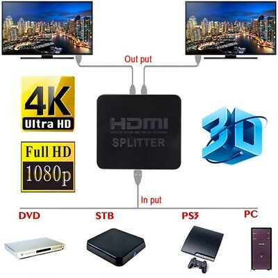 HDMI 1 in 2 out 1080p 4K 1x2 HDCP Stripper 3D Splitter Power Signal Amplifi J1V3