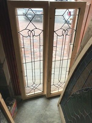 SG 2332 matching pair antique leaded glass sidelight window 14 x 47