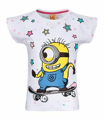 Girls Kids Official Minions Despicable Me White Short Sleeve T Tee Shirt Top
