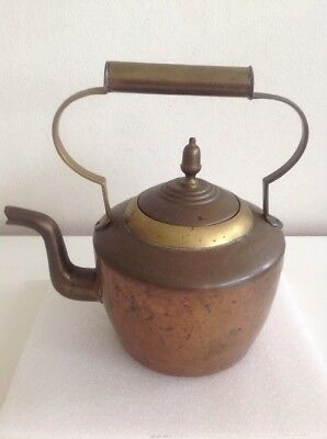 Vintage Copper And Brass Kettle Beaten Metal Acorn Lid