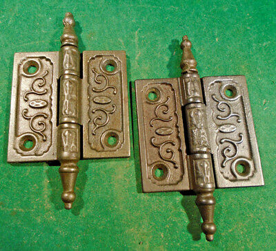 "Pair Vintage Eastlake Hinges   2 1/2""  X 2 1/2""  Steeple Top - Nice (10292-3)"
