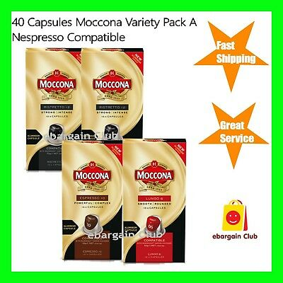 New 40 Capsules Moccona Coffee Pod Variety Pack A Nespresso Compatible eBC