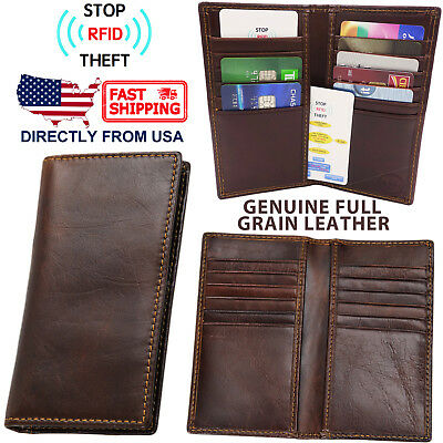 Men's RFID Blocking Genuine Full Grain Leather Slim Bifold Clutch Wallet