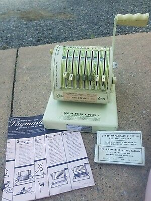 Vintage Paymaster Check Writer Locked Protection Series X-550