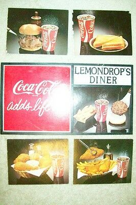 Vintage 1970s (?) Coca-Cola Plastic Frame Sign with 5 Double-Sided Food Photos