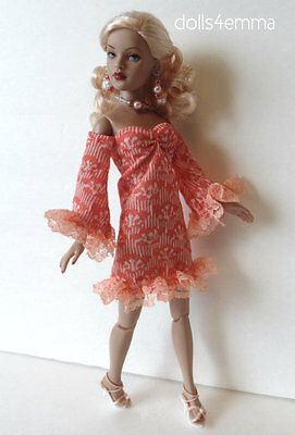 Tiny Kitty Doll Clothes Sweet Peach Dress & Jewelry HM Fashion NO DOLL d4e