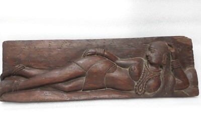 Vintage Old Hand Carved Wall Panel Naked Tribal Lady Statue Figure