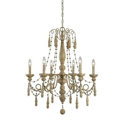 """French Tuscan Traditional Turned Wood Beaded 6 Light Silvana Chandelier 28""""d"""