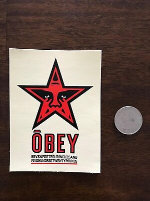 SHEPARD FAIREY Obey Giant Sticker 3 X 4 wht STAR SEVEN FEET from poster print