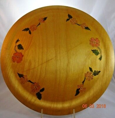 """Vintage Large 16"""" Round Wooden Tray Platter Handpainted Pink Dogwood Flowers"""