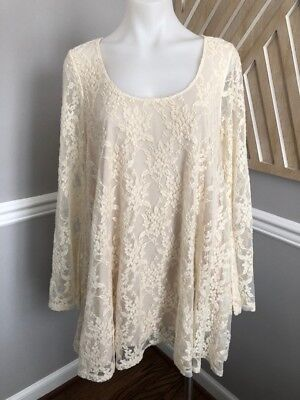 60d44066aacf Show Me Your Mumu Fannie Flow Dress ~ Flower Chain Lace Cream Sz Medium