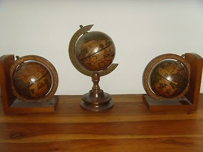 GLOBE BOOKENDS with globe centre piece