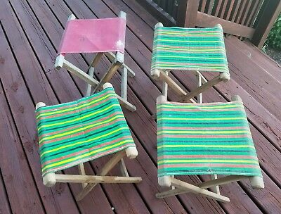 4 Vtg Folding Wood Canvas Cloth Seat Travel Camping Stool Chair Multi Color, Red
