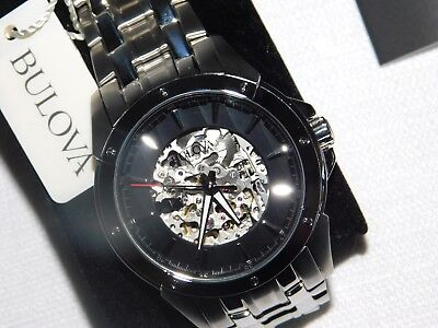 Bulova 96A170 Mens Automatic Dress Watch 21 Jewels Skeleton Dial Stainless $850