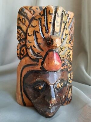 Mexican Wood Hanging Mask Folk Art Hand Crafted Painted Collectible Decorative