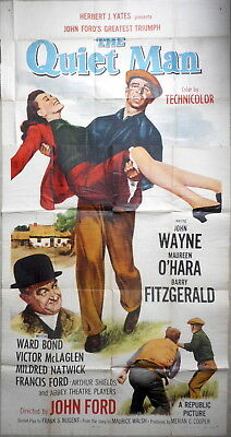 THE QUIET MAN MOVIE POSTER John Wayne Maureen O'Hara John Ford Three Sheet